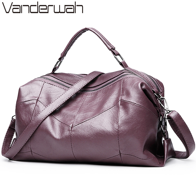 VANDERWAH Brand Leather Luxury Handbags Women Bags Designer Lady Crossbody Shoulder Messenger Bags Female Boston Solid Bag SAC vanderwah crocodile pattern leather luxury handbags women bags designer women shoulder bag female crossbody messenger bag sac
