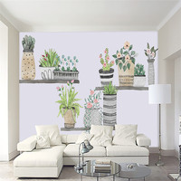 3D Custom HD Picture Wallpaper Fresh Bonsai Cactus Nordic Sofa TV Wallpaper Wall Mural Wallpaper Home Decor Wall Paper