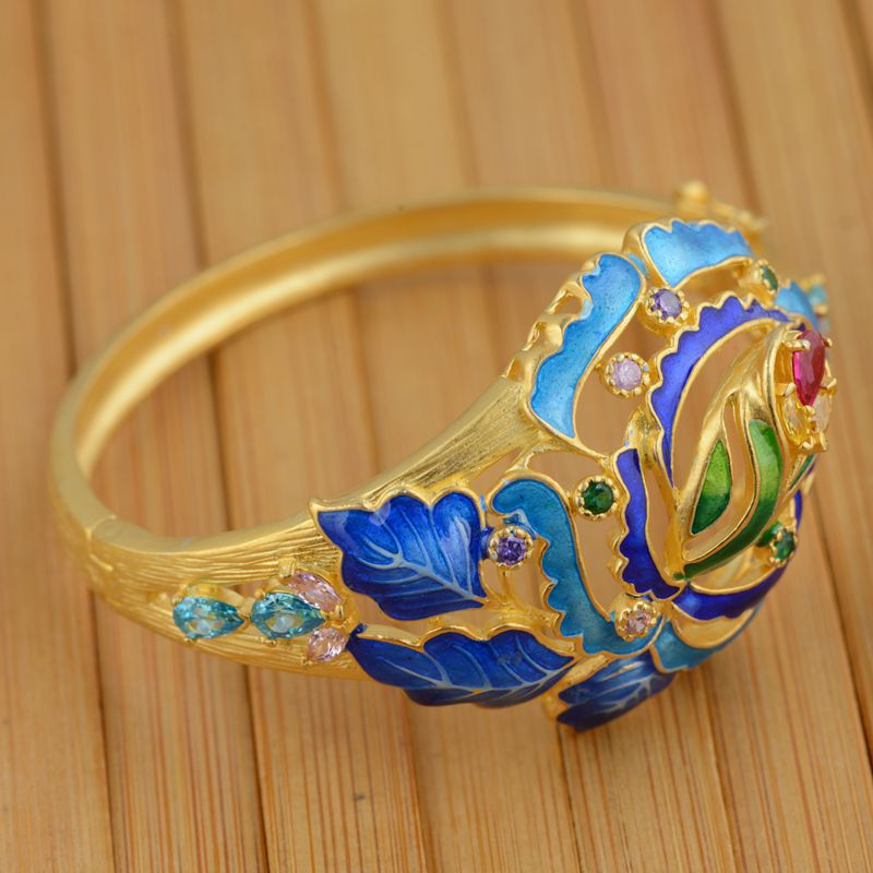 S925 Gold Sterling Silver Inlay Bracelet wholesale Shaolan women jewelry opening process - 3