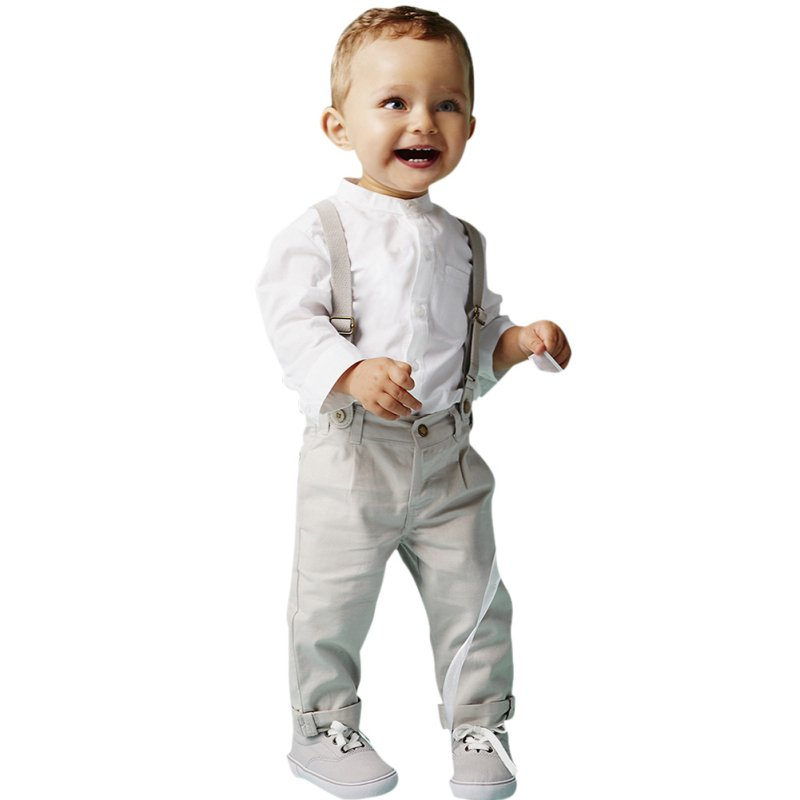 2Pcs/set Gentry Boys Clothing Sets White T-shirt Top + Bib Pants Children  Kids Overall Clothes Sets 2-6Years