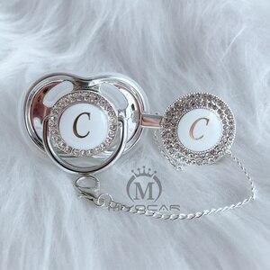 Image 3 - MIYOCAR Oro argento nome Iniziali lettera C bella bling ciuccio e ciuccio clip di set BPA libero dummy bling design unico LC