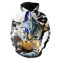 3D Animal Printed Sweatshirts Hooded Hoodies Cat Lion Wolf Tiger Long Sleeve Pullovers Hoodie Streetwear Coat Girls Sweatshirt