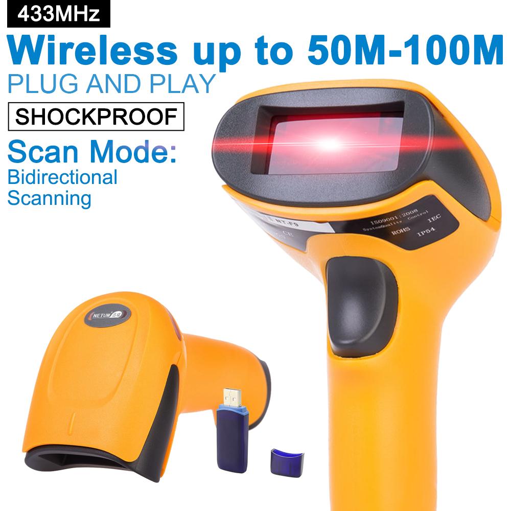 Prix pour Portable Sans Fil Barcode Scanner 433 MHz 100 m à 300 m Distance Sans Fil USB Bar Code Reader pour POS et inventaire-NT-2028
