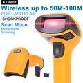 Scanner de código de Barras portátil Sem Fio 433 MHz 100 m a 300 m de Distância Sem Fio USB Bar Code Reader para POS e inventário-NT-2028