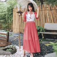 online chinese store cosplay costumes women summer dress female vintage ethnic square collar half flare sleeve patchwork dress