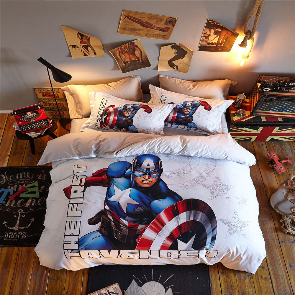 Captain America The First Avenger 3D Printed Bedding Set Bedspread Coverlets Duvet Cover Single Twin Full Queen Size Cotton Blue
