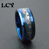 Blue Luminous Ring Men Jewelry Silver Dragon Stainless Steel Rings Glow In The Dark Tungsten Steel Rings Anel Masculino Anillos