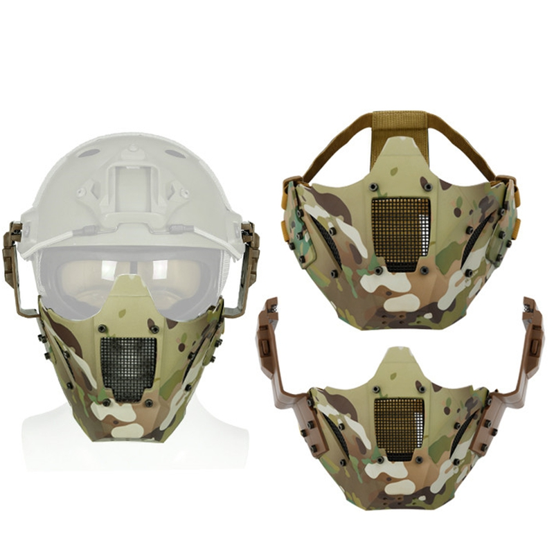 Airsoft Paintball Half Face Mask Tactical Protective CS Half Face Mask Military Game Metal Steel Net Mesh Masks