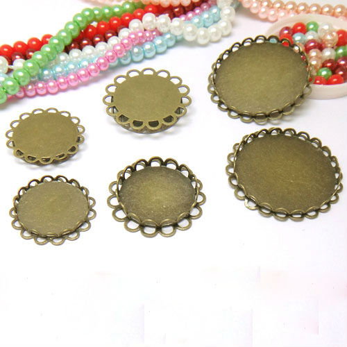 4pcs with inner 25mm Antique Bronze Pendant Blank Dual-lace Bezel Setting Tray for Cameo Cabochons