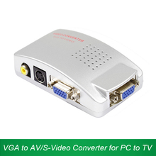 VGA to Video S-Video Adapter VGA to AV AV/S RCA Converter Support NTSC PAL Signal Switch for Computer Laptop PC to TV