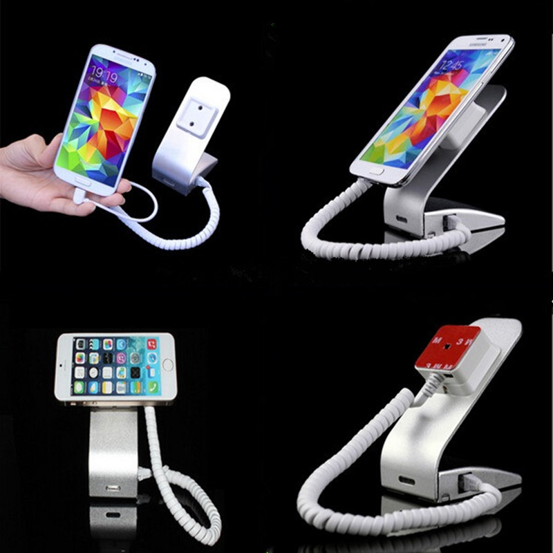 цены silver color magnetic metal mobile phone exhibition retail shop anti theft alarm display holder stand