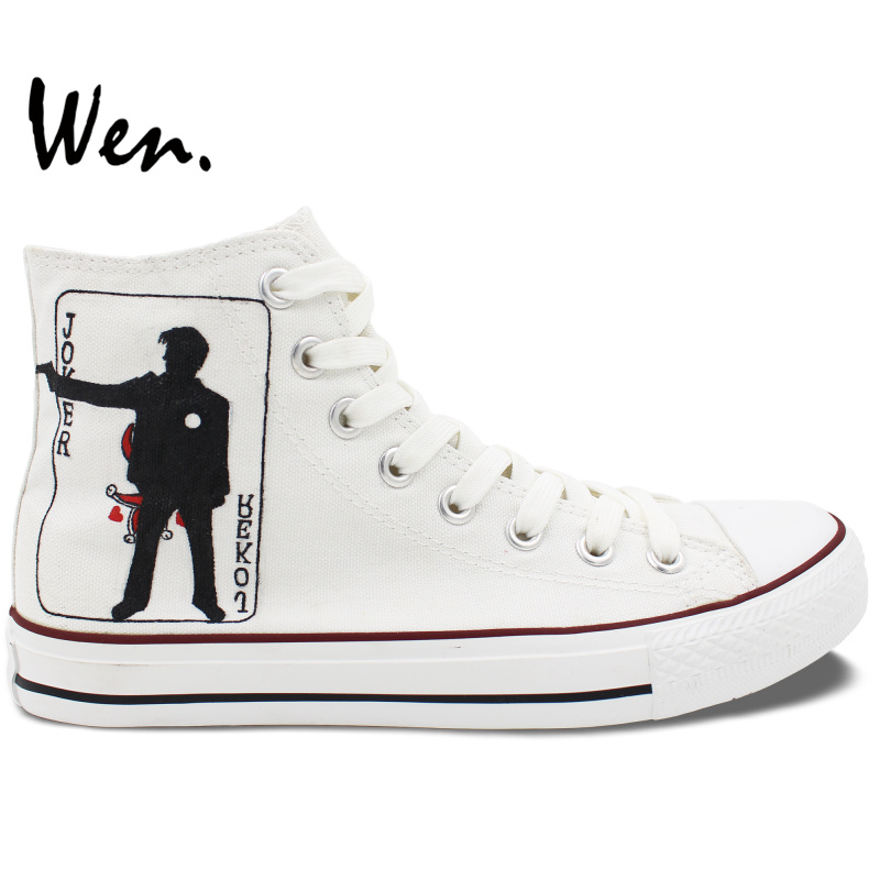 Wen Design Custom Hand Painted Sneakers Joker Poker Square A High Top White Canvas Shoes for Boys Girls's Special Presents
