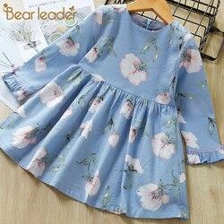 Urso líder moda crianças menina vestido dos desenhos animados manga longa princesa vestido moda flor impressão crianças vestidos de roupas infantis