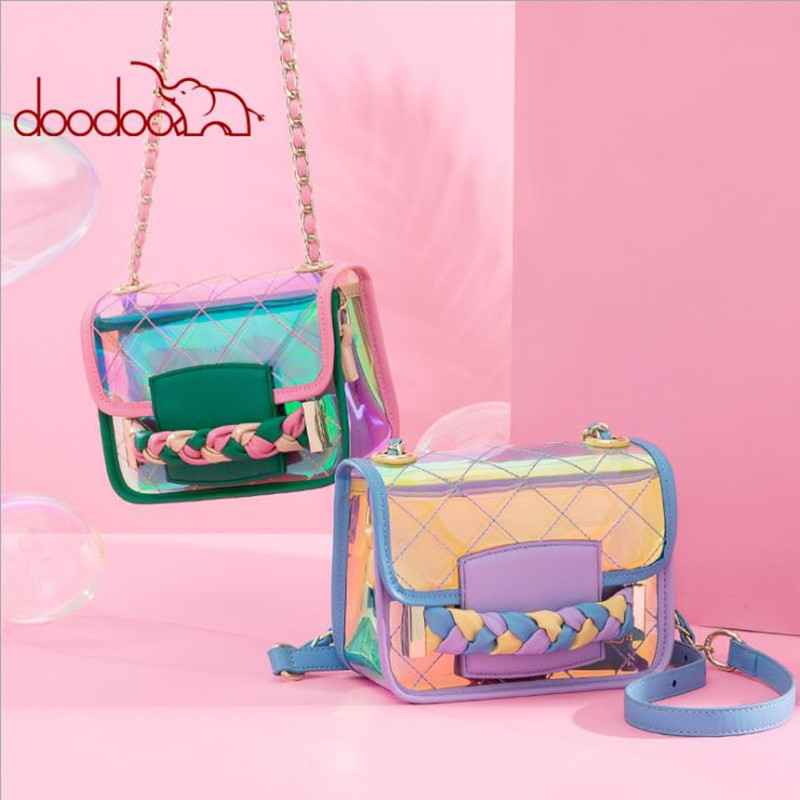 Korean version of the summer transparent laser bag 2018 new fashion single shoulder slung small square bag ins female bag d1019 bag female 2018 new fashion sequins convenient bread bag chain small square bag shoulder slung dinner bag