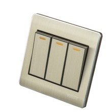 Home Wall Switch Socket, 86-Type Concealed Gold, Three Double-Control Panel, 10A PC110-250V