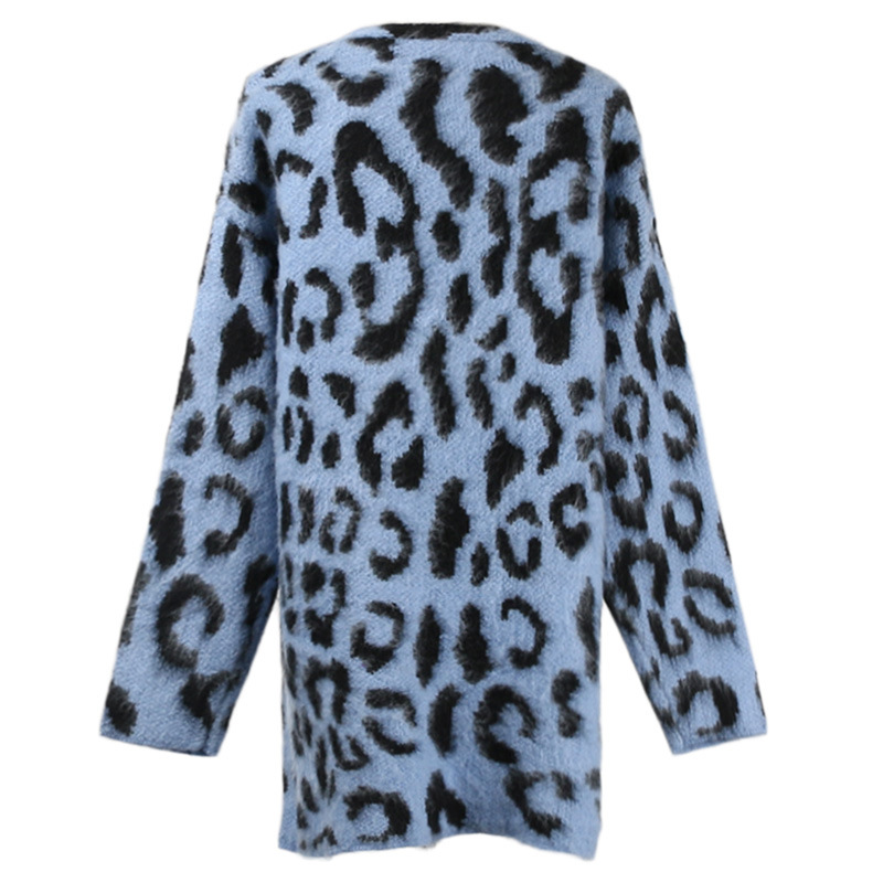 Hiver Épais Chandail Chandails Occasionnel À Lâche Cardigan Manteau Automne Chaud Nouvelle Manches Leopard Léopard Femmes Longues Mode Tricot JFKcl1