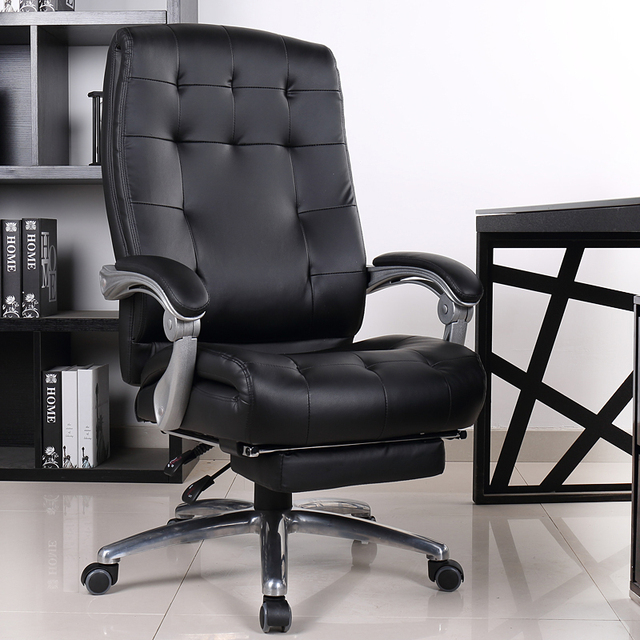 Comfortable Luxury Genuine Leather Chair Leisure Home 170 Degree Lying  Office Computer Chair Rotating Lifting Boss
