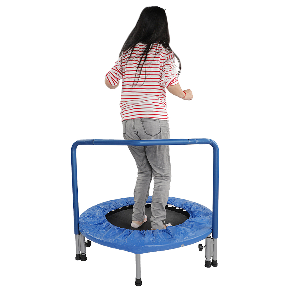 36 Portable Waterproof Mini Fitness Equipment Trampoline Toddler Active Round Bounce Bed with Handle Bar Blue