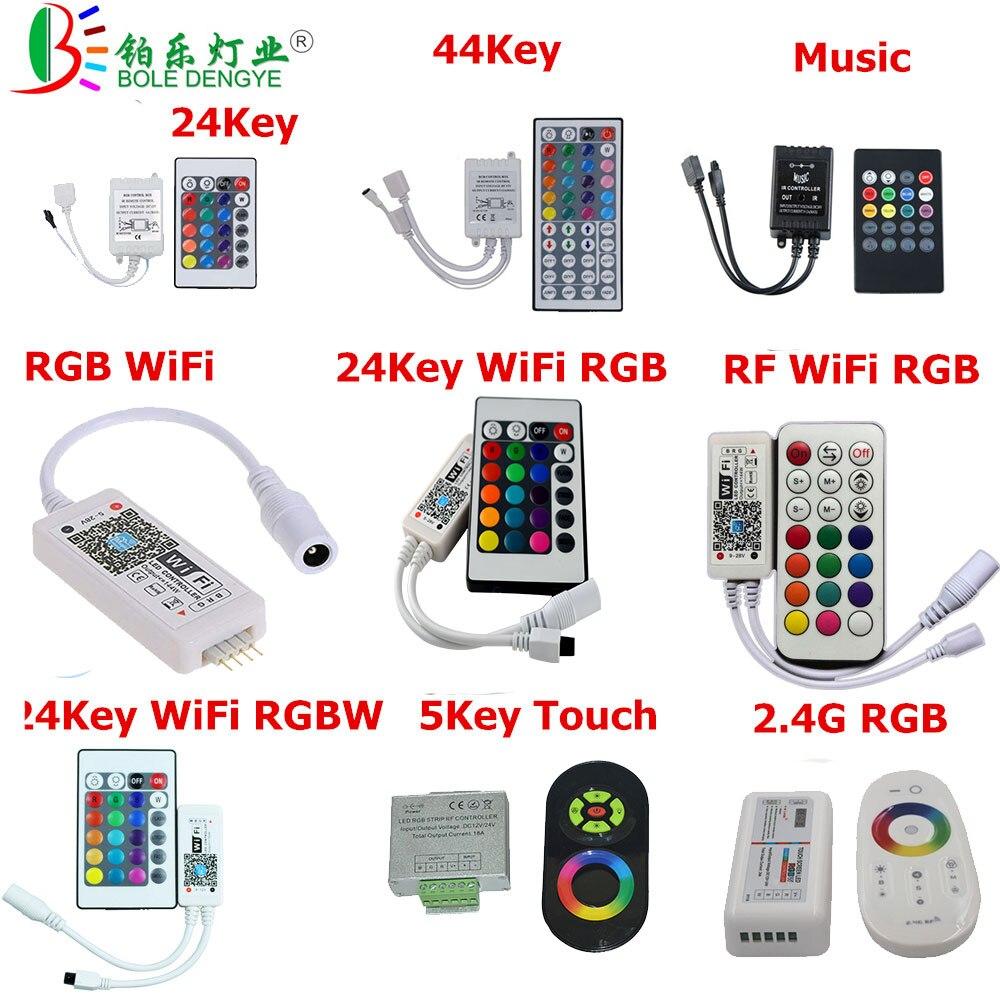 RGB LED Controller 24Key 44Key Music RGB LED Strip Controller WiFi 2.4G RGBW Controller For 2835 3528 5050 LED Strip Tape