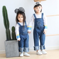 2017 Autumn Cute Star Face Strap Removable Pants For Girls Boys Jumpsuits Denim Overalls Children Fashion