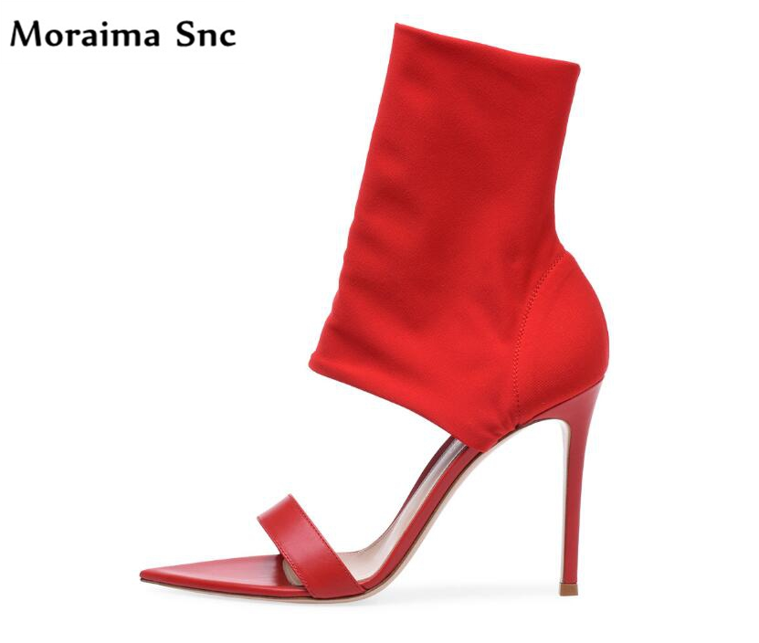 Moraima Snc graceful ladies sandals pointed toe fashion women mixed PU leather 2018 newest stilettos spring summer sandals 2017 spring summer newest round toe