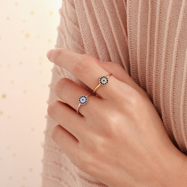 Fashion Turkish Evil Eye Ring For Women Gift Silver Gold Color 925 Silver  Jewelry Turkey Blue Eyes Ring Adjustable Dropshipping 41bcb29887a2