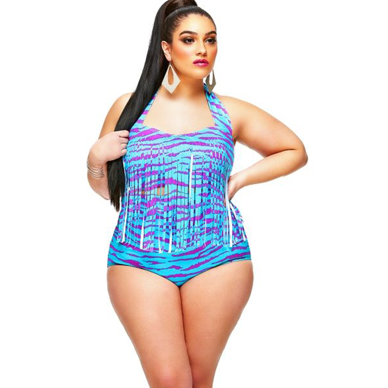 397e034dc12bf 2017 WATER PRINCESS Sexy Print Foreign Hot swimwear Two Piece Monokini Tassel  Bikinis Set Plus Size High Waist Bathing Suit-in Two-Piece Suits from  Sports ...