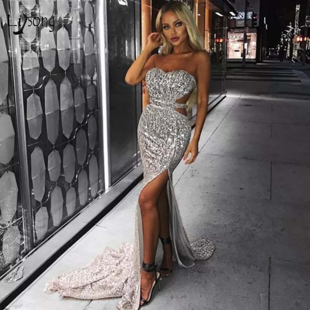 Sexy Sparkle Sequined Mermaid   Prom     Dresses   2019 Long   Prom   Gowns High Side Split Off The Shoulder Formal   Dresses   Robe De Soiree
