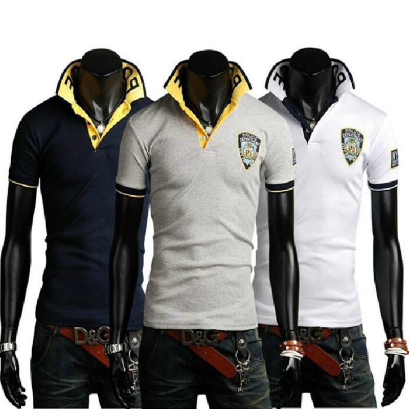 Summer New Leisure Fashion Tide-korean Printing Embroidery Men's Long Sleeve Slim Joker   Polo   shirt