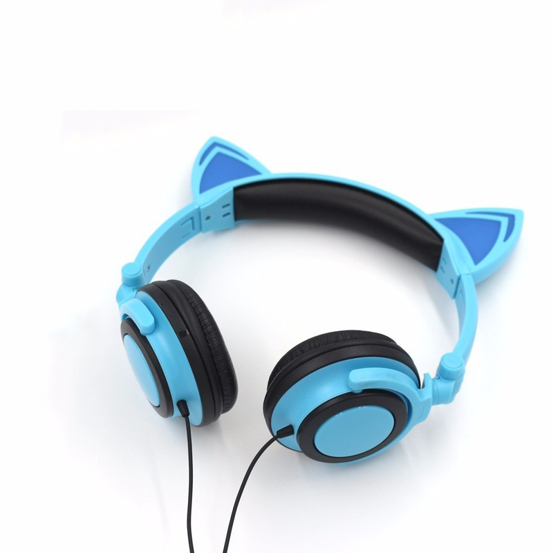 Cats headphone Flashing Glowing earphones Cat ear headphones Gaming Headset LED light earphone For PC Laptop Computer SmartPhone each g8200 gaming headphone 7 1 surround usb vibration game headset headband earphone with mic led light for fone pc gamer ps4