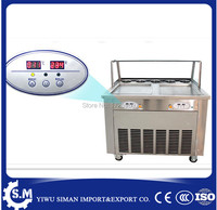 35cm automatic flat pan ice cream rolling roller machine stainless steel fried ice cream machine with defrost plate and cover
