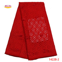 2018 African 3D Lace Fabric Swiss Voile High Quality Red Laser Cutting Laces Fabric Embroidered Nigerian