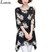 Women Summer Style Tops 2017 Short Sleeve Flower Print Chiffon Blouse Shirt 6XL Plus Size Women