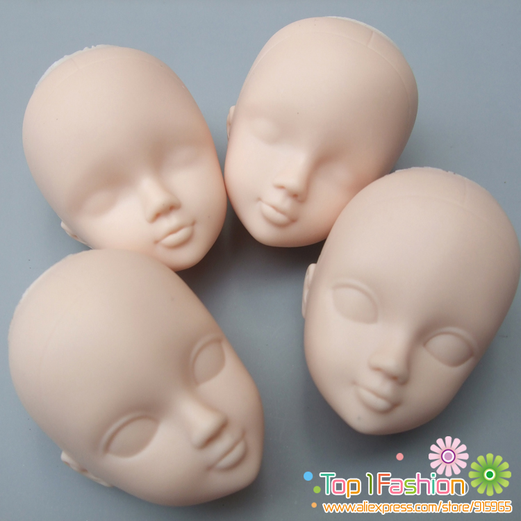 5pieces /lot Soft Plastic Open-Eye Practice Makeup Doll Head 1/6 White Double-fold Eyelid DIY Heads For Barbies BJD Make Up