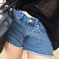 Moda Muchacha de Las Mujeres Short Denim Medio Cintura Jeans Casual Pantalones Cortos Pantalones