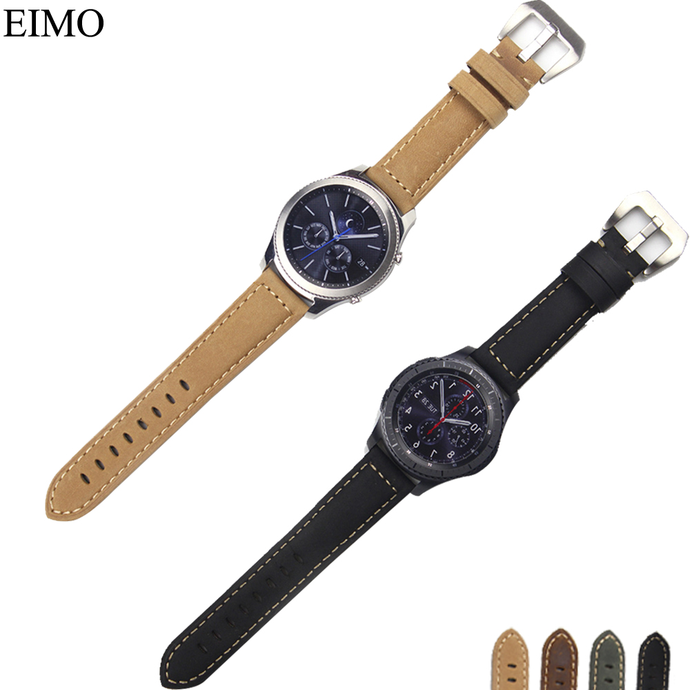 CRESTED Genuine Leather band for amsung Gear S3 Frontier/Classic bracelet strap for watch band 22mm bellt with metal buckle crested genuine leather strap for samsung gear s3 watch band wrist bracelet leather watchband metal buck belt