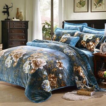 Fleece fabric Winter Thick Duvet cover sets blue Queen King size Warm Bedding set 4pcs bedclothes Bedsheet/Bed linen