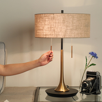 Double Pull Switch Modern Metal Led Table Lamps For Bedroom Living Room Bedside Linen Shade Desk Lamp Luminarias Decorative Lamp