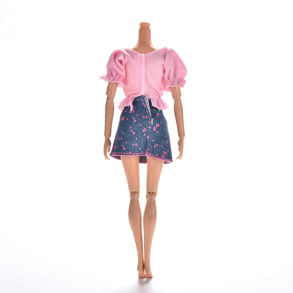 Doll Clothes Suit Summer Short Sleeve Flower Print Doll Dress mini Princess Denim Skirt For   1set
