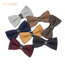 Men's bow solid color wool tie single item fashion evening dress retro formal occasion wedding business