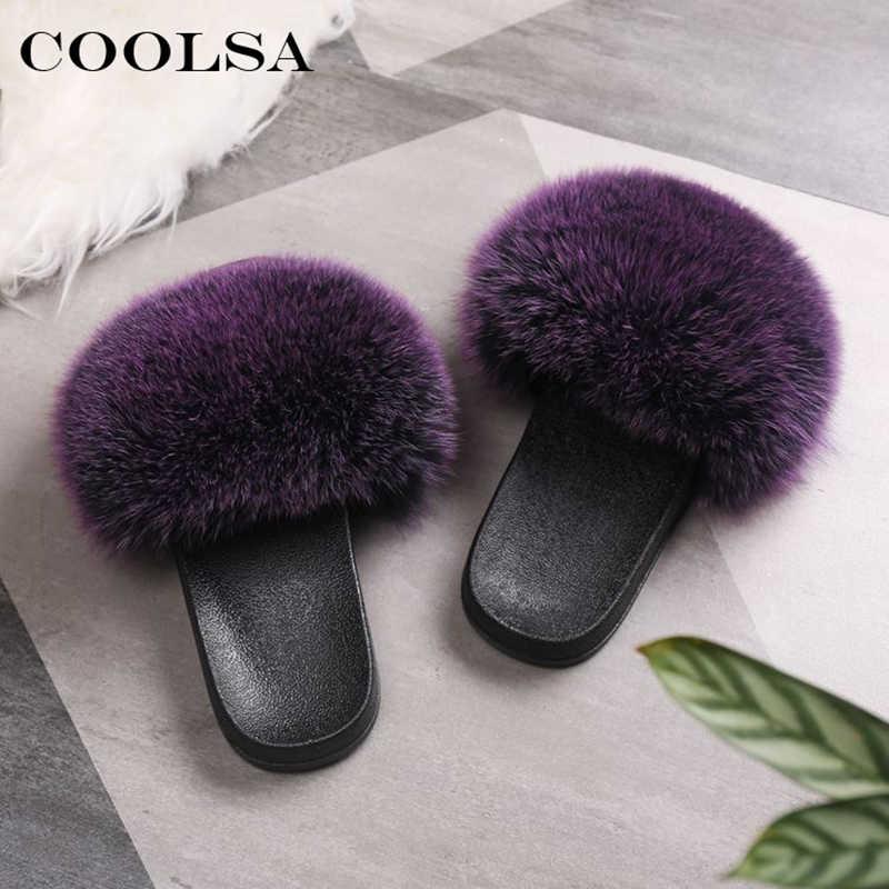 Coolsa Luxury Women Real Fox Fur Sandals Fox Hair Fur Slides Rubber Flat Non-slip Casual Home Slipper Soft Lady Large Size Shoes
