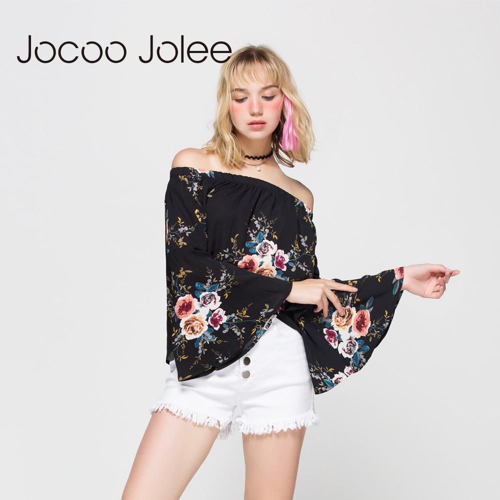 Jocoo Jolee ženske v bluzi na rame Seksi polni rokavi z metulji - Ženska oblačila - Fotografija 3