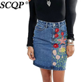 SCQP Floral Embroidery Woman Jeans Skirt Pencil Knee-Length Denim Skirts Womens Ladies 2016 Spring Summer Elegant Office Skirt