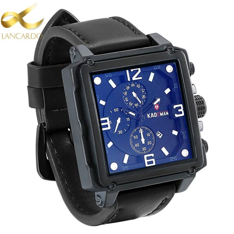 Lancardo Brand Leather Mens Watches Casual Square Clock Japan Movt Quartz Men Watch Luxury Business Wrist Watch Reloj Hombre