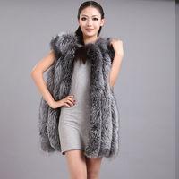 2017 winter new Real Fox Fur Vest for Women Winter Thick Vertical Stripe Natural Fox Fur Waist coat