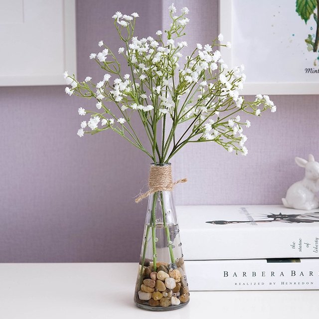 Blooming Babys Breath With Glass Vase Artificial Babys Breath