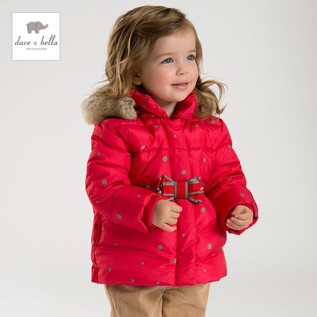 DB2956 DAVEBELLA crianças jaqueta meninas para baixo crianças jaqueta acolchoada outerwear boutique Natal