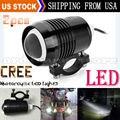 2pcs Black Super Bright 30W U2 LED Motorcycle Spotlight Headlight Driving Fog Head Light Spot Night Safety Lamp + Switch
