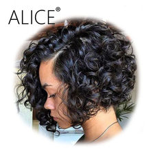 ALICE Curly Full Lace Wigs With Baby Hair 130% Density Remy Short Wigs Pre Plucked Full Lace Human Hair Wigs Bleached Knots(China)