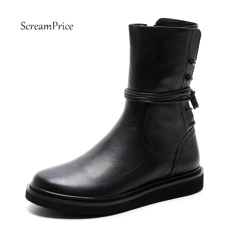 Women Genuine Leather Winter Side Zipper Lace Up Mid Calf Boots Fashion Round Toe Comfortable Flat Women Shoes Black double buckle cross straps mid calf boots